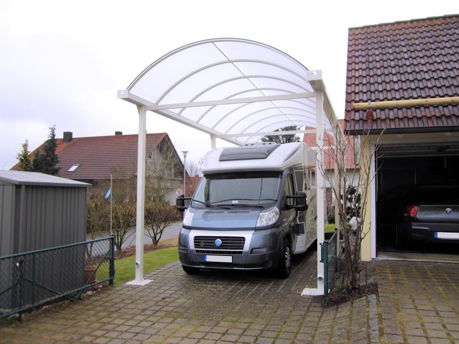 Typ N Wohnmobilcarport aus Aluminium - Pulverbeschichtet in Weiß