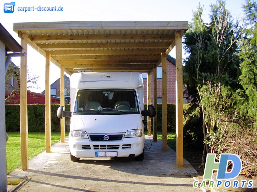 HD Carport aus Holz als Wohnmobil-Version
