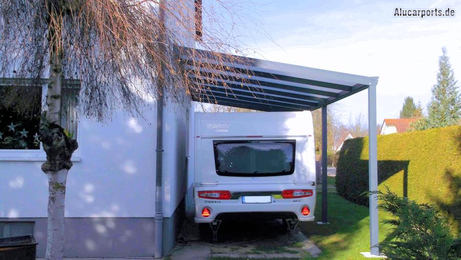 Aluminium Caravan-Anbaucarport in Anthrazit - hagelsicher