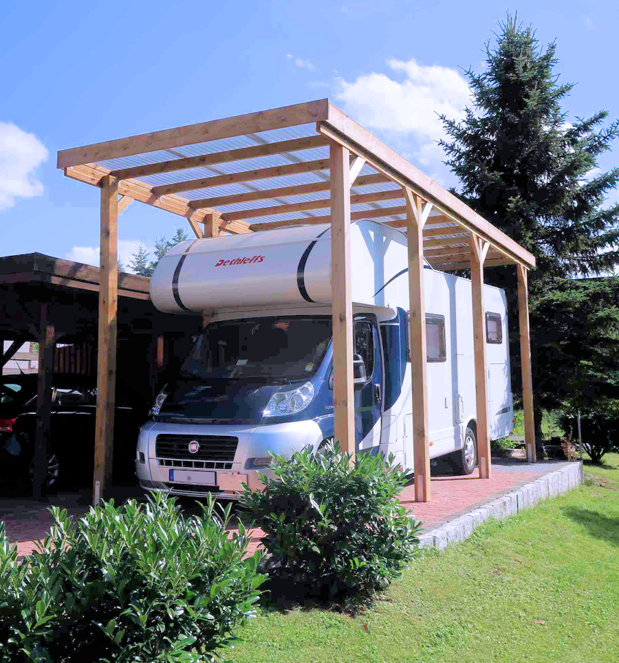 HD Wohnmobilcarport mit lichtdurchlässigem PVC-Dach