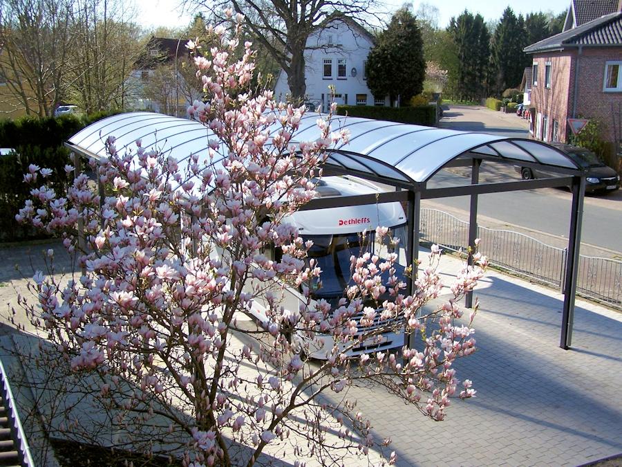 Doppelcarport für Wohnmobil Typ N in Aluminium mit Bogendächern