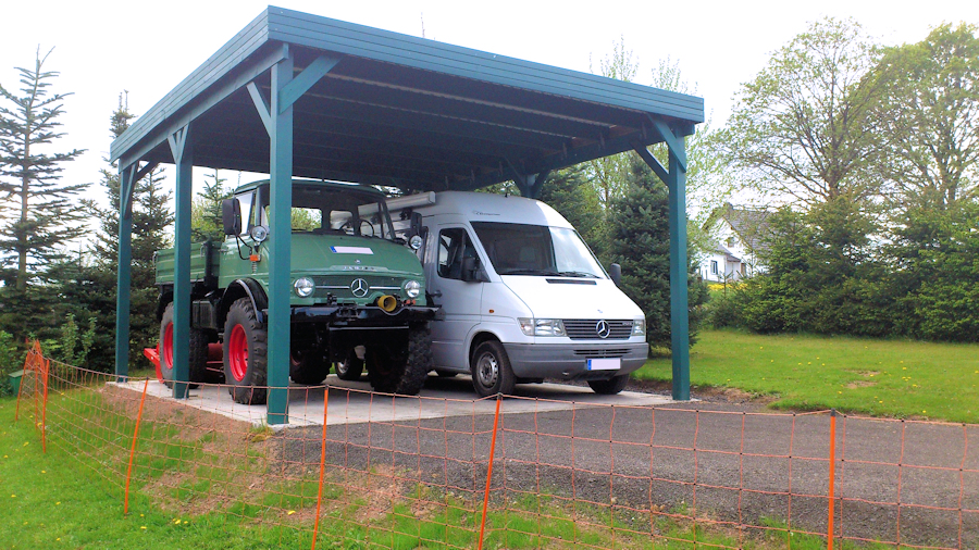 Doppelcarport Holz für Transporter