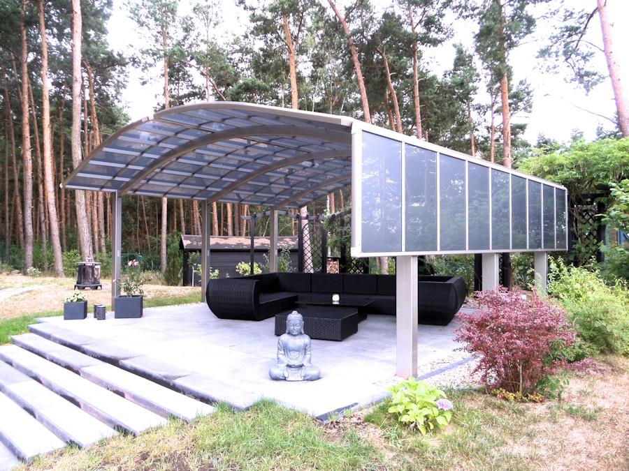 Nagoya Doublewide Doppelcarport aus Aluminium - mit 150cm Seitenteil