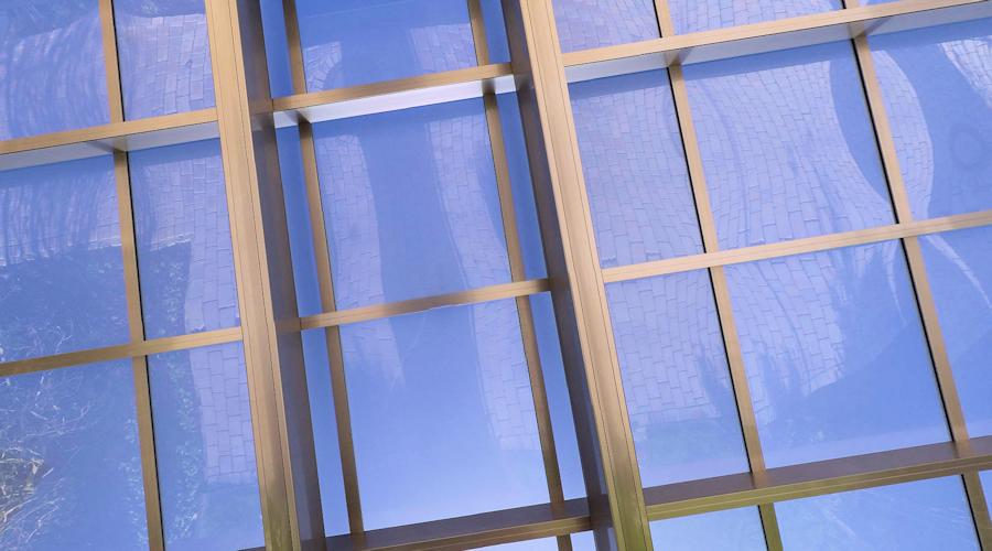 Dachuntersicht rauchblaues Polycarbonat AluPort Monaco Designcarport