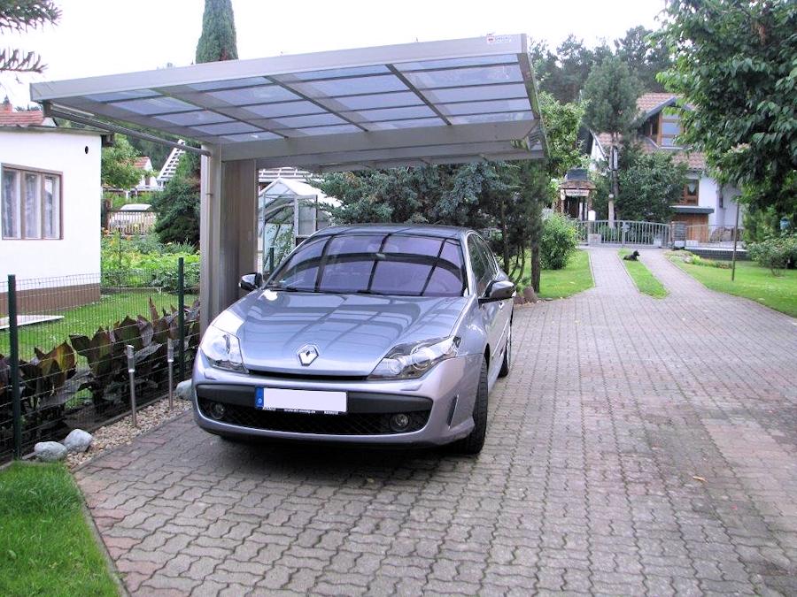AluPort Monaco Einzelcarport aus Aluminium mit nur einem Pfosten