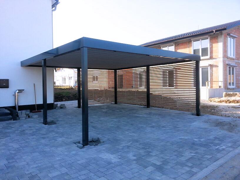 Carport aus Stahl Anbau
